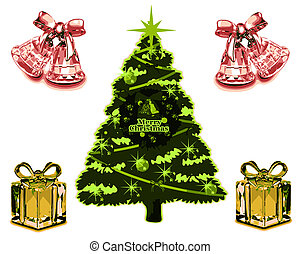 Christmas Card VB - Christmas card with tree and cristal...