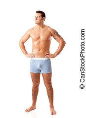 Man in Blue Underwear