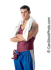 Young adult male wrestler. Studio shot over white.