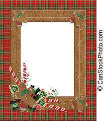Christmas border plaid gingerbread