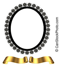 black oval frame gold scrolls - Illustration of black oval...