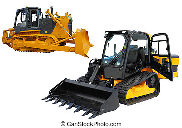 bulldozers - The image of bulldozers under the white...