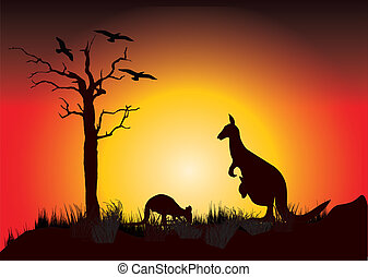 sunset with two kangaroos with a dead tree