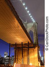 Under the Brooklyn Bridge on the Brooklyn side.