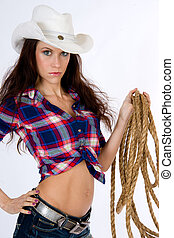 Roper Cowgirl - Cowgirl Standing in shorts with gear