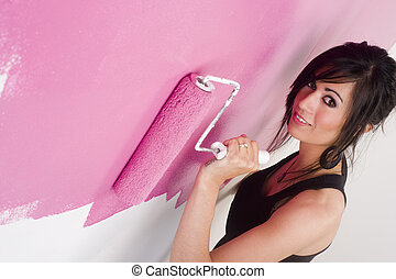 Paint it Pink - Pretty Brunette homemaker Paints it Pink