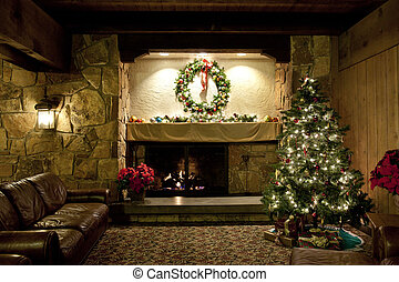Rustic Christmas Living Room - A living area in a...