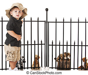Young Zoo Keeper - An adorable preschooler playing zookeeper...