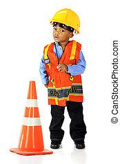 Tiny Road Crewman - An adorable preschooler in road crewman...