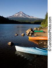 Kayaks at Trillium Lake with Mount Hood