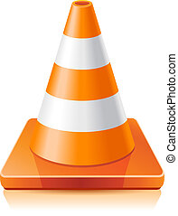 Traffic cone - Vector illustration - traffic cone on a white...