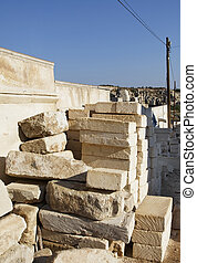 Limestone brick stack at a building site in Goreme clear...