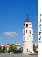 Bell tower of the Vilnius cathedral in Lithuania