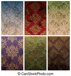 set of seamless vintage background - set of abstract vector...