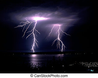 Electrical Storm - Two lightning bolts over the water
