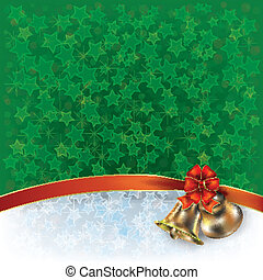 Christmas green greeting with bells and bow