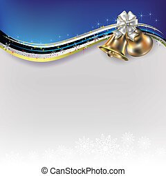 Christmas white greeting with bells and bow - Abstract...