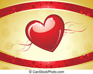 abstract red golden heart background