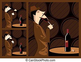 Wine tasting - The three steps in tasting a wine barrel...