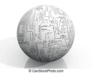 Sphere of computer chips