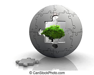 Sphere puzzle with a tree in the middle