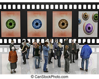 People in front of filmstrip with eyes