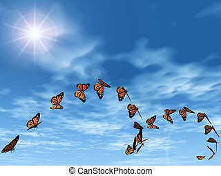 Monarch butterflies in the sky