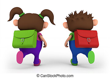 school kids running - - high quality 3d illustration
