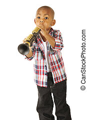Tooting Toddler - A handsome young African American tooting...