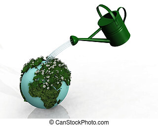 Watering flowers on globe
