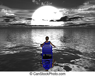 Woman sitting in blue chair in the water facing the setting sun