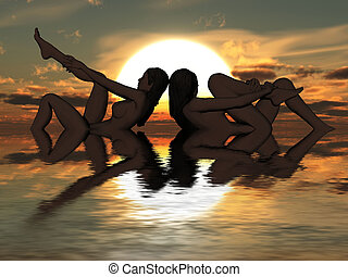 Silhouette of two bathing beauties