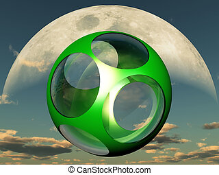 Green ball with holes in front of the moon