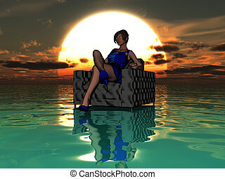 Sexy woman sitting in a chair in the ocean
