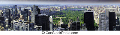 Aerial view of Central Park and NYC Buildings