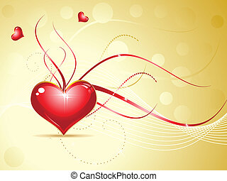 abstract red shiny heart on golden background vector...