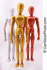 Three mannequins in bronze colors