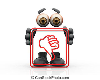 Figure holding red frame with thumbs-down symbol