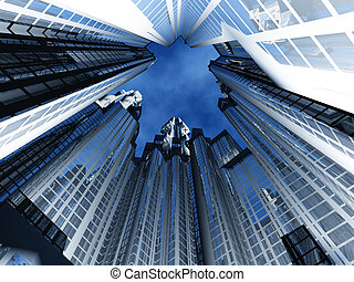 View from below at a circle of high-rise buildings