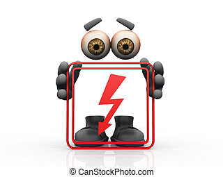 Figure holding red frame with high voltage sign