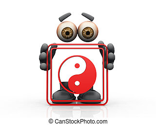 Figure holding red frame with yin-yang symbol