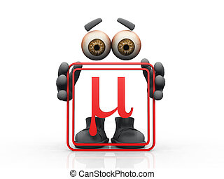Figure holding red frame with symbol