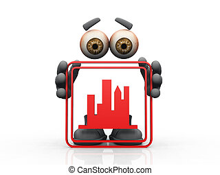 Figure holding red frame with skyline symbol