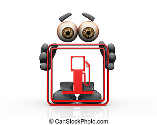 Figure holding red frame with gas pump sign