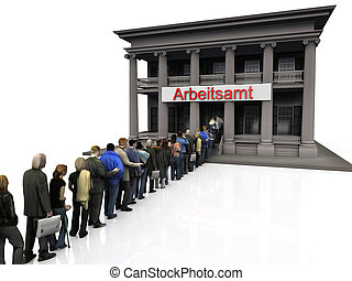 Arbeitsamt - people standing in line outside German...