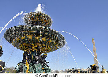 Fountain on the Concorde square, Paris - Fountain on the...