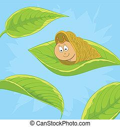 Snail on leave - Vector cartoon, cheerful snail on a green...