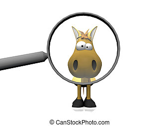 Cartoon horse in a magnifying glass