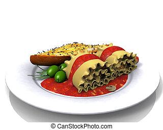 lasagna, roll-ups, aglio, bread