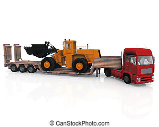 Tractor-Trailer transporting construction machinery